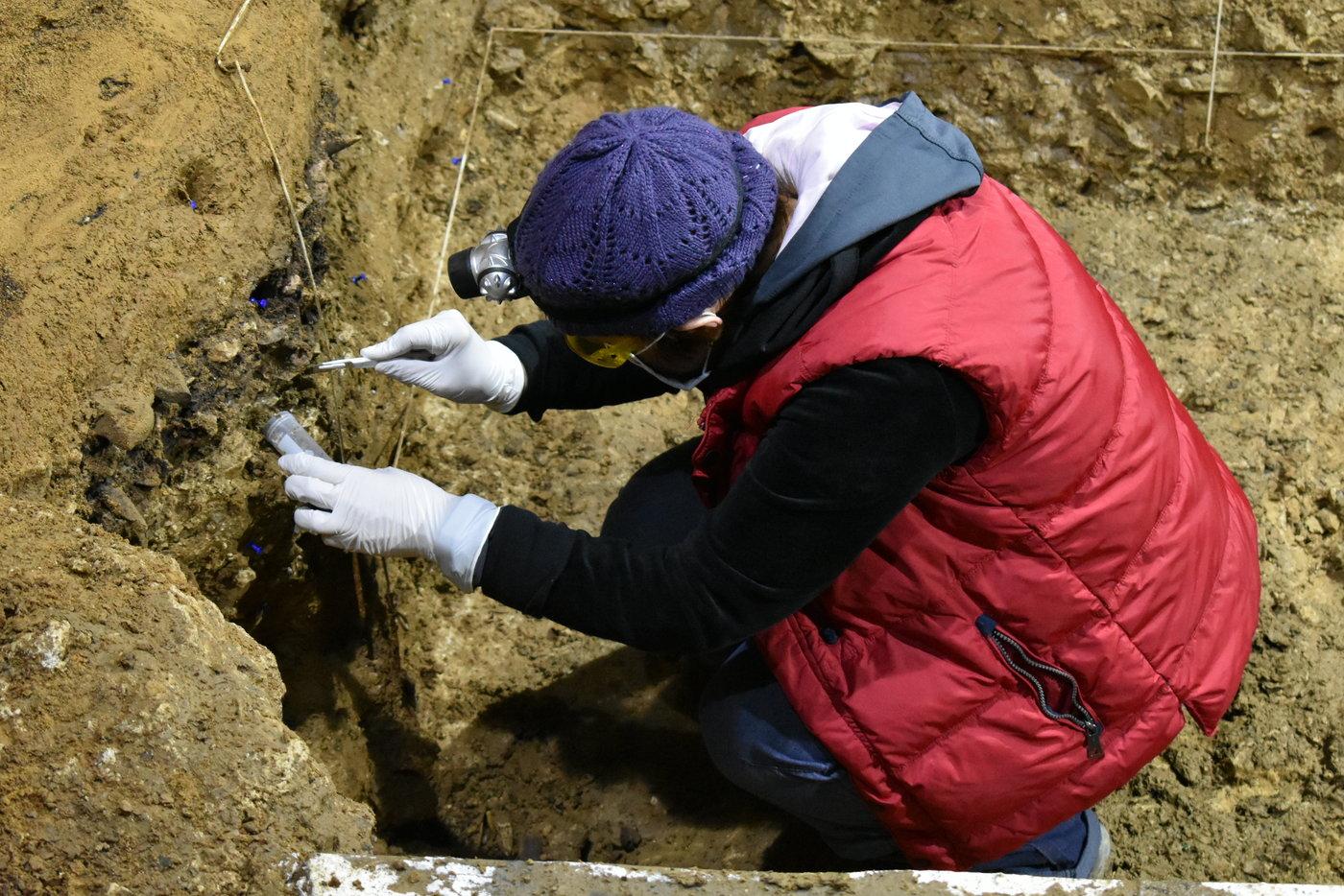 Eine der Grabungsleiterinnen, Tsenka Tsanova aus der Abteilung für Humanevolution am MPI-EVA, entnimmt Sedimentproben für die DNA-Analyse. Foto: © Nikolay Zahariev, Lizenz: CC-BY-SA 2.0