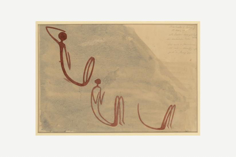 Drei hockende Gestalten - S imbabwe Macheke, 8000 - 2000 v.d.Z., Aquarrel von Leo Frobenius (1929)