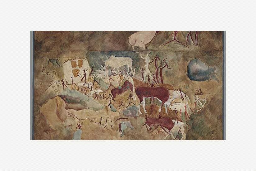 Elenantilopenbüffel und Menschen - Aquarell von Maria Weyersberg (1929)