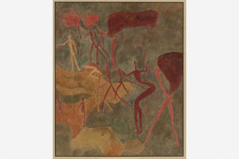 Elenantilopen und langgliedrige Menschen - Südafrika - Harrismith Southeys Hoek - 1500 vor - 1500 nach der Zeitenwende - Aquarell von Elisabeth Mannfeld (1929)