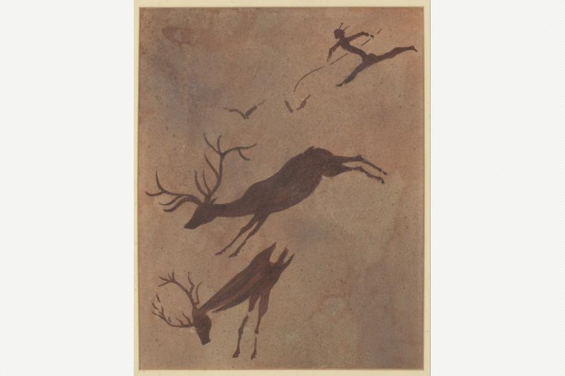 Hirschjagd - Spanien - Vallorta Cueva Mas den Josep - 8000 - 3000 v. d. Z. - Aquarell von Alf Bayerle (1934)