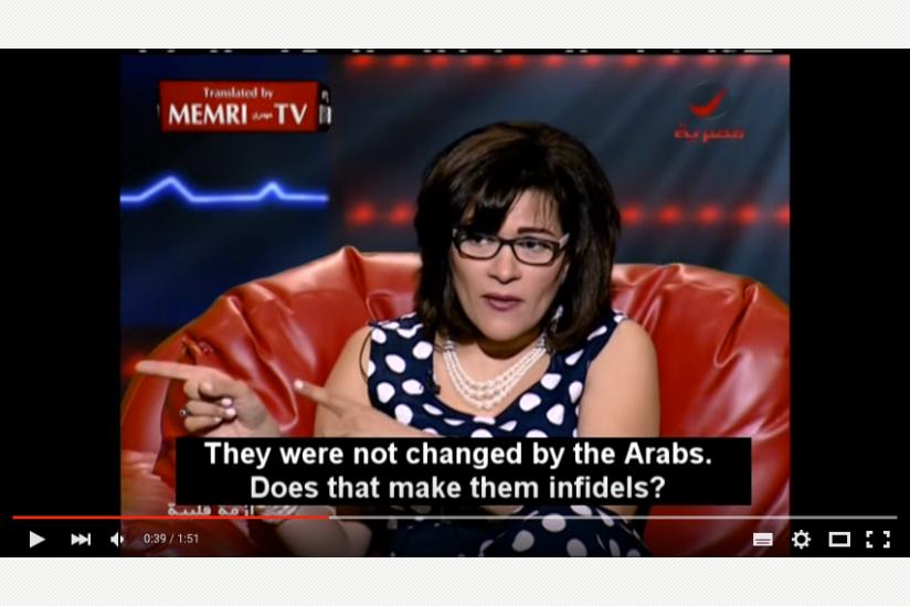 Die ägyptische Dichterin Fatima Naoot in einem Fernsehinterview