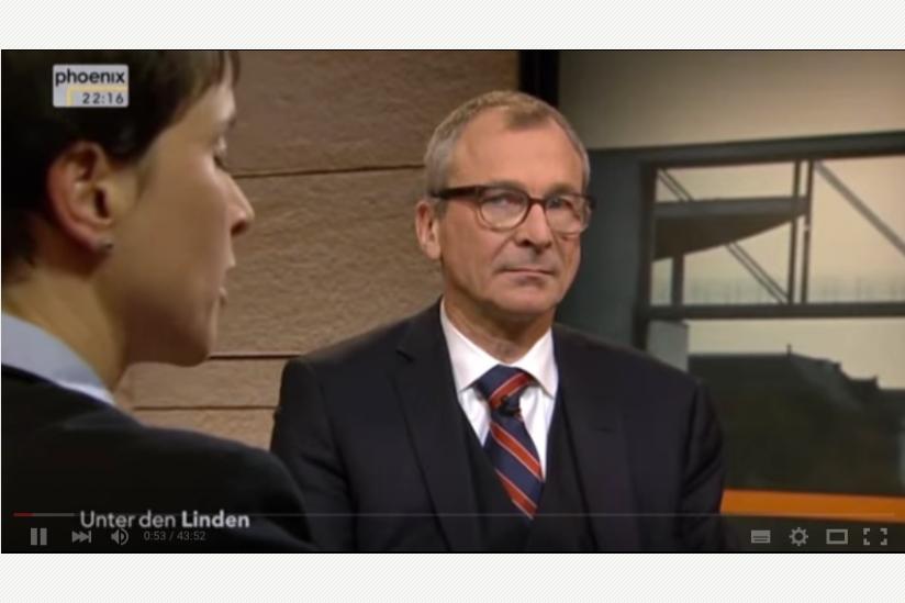 Screenshot der Sendung mit Frauke Petry und Volker Beck