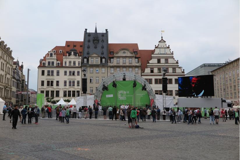 Markt Leipzig: Nicht viel los auf dem Katholikentag
