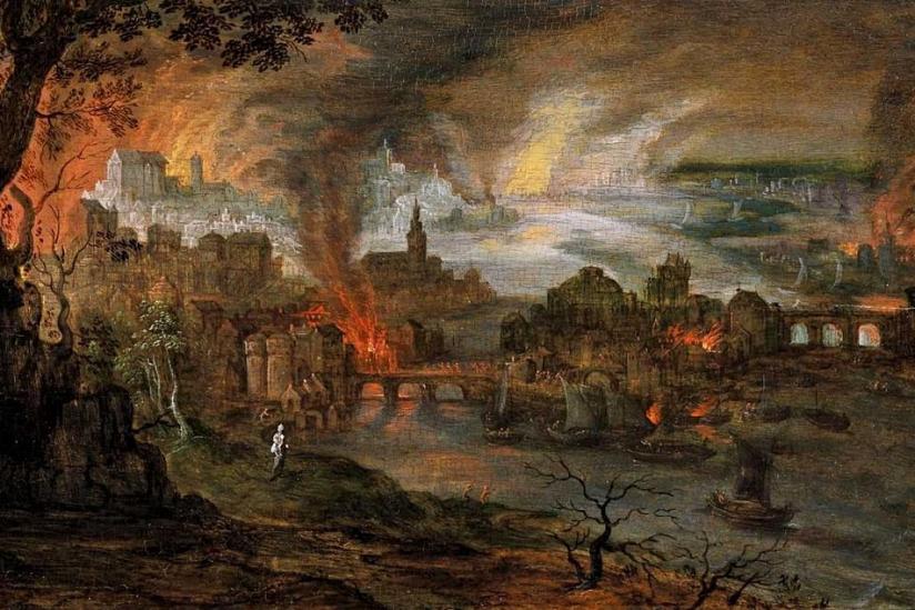 Pieter Schoubroeck: Die Zerstörung Sodom und Gomorrhas
