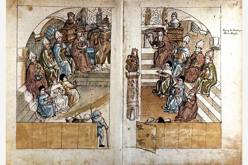 Konzilssitzung im Konstanzer Münster (aus der Chronik des Konzils von Konstanz des Ulrich Richental)