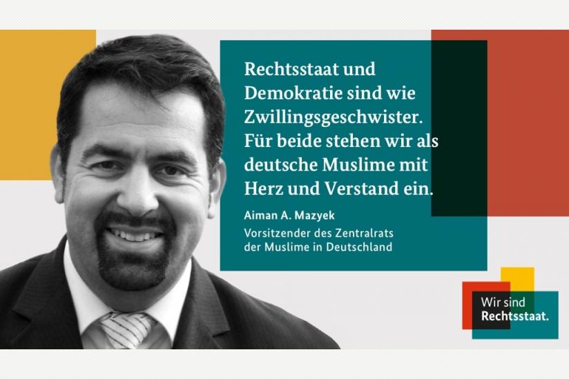 """Aiman Mazyek, der Vorsitzende des Zentralrats der Muslime in Deutschland (ZMD), als Botschafter für die Regierungskampagne """"Wir sind Rechtsstaat"""""""