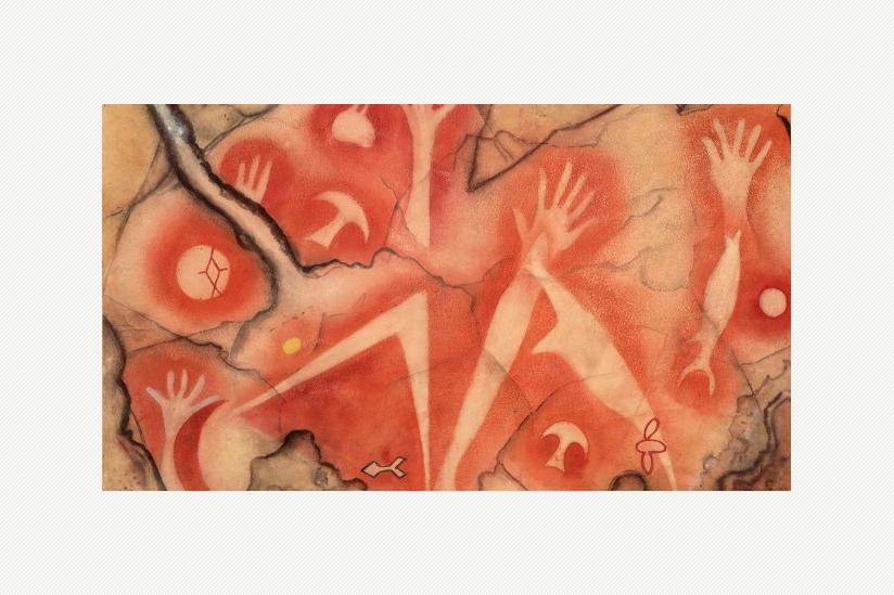 Handsilhouetten: Fische und Mond - Indonesien, West-Papua Tabulinetin - 500 - 1500 n.d.Z. - Aquarell von Albert Hahn (1937)
