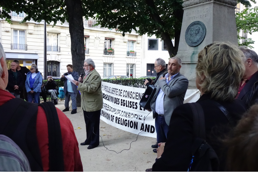Elbio Laxalte war Redner am Denkmal von Garibaldi in Paris
