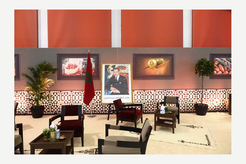 Lounge mit einem Foto des Königs von Marokko, Mohammed VI.