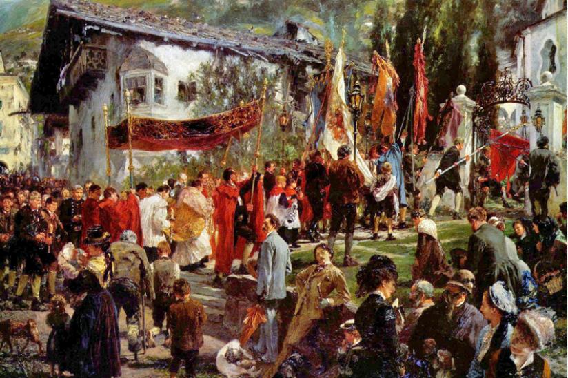Fronleichnamsprozession in Bad Hofgastein, Adolph Menzel, 1880