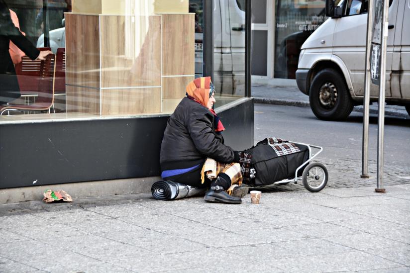 Bettlerin in Frankfurt/M.