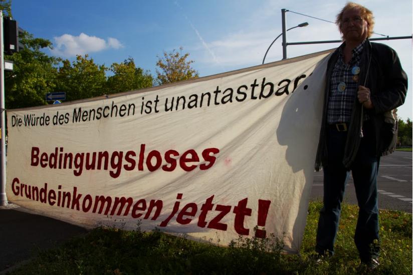 """Bei der """"Demo für das Grundeinkommen"""" im September 2013"""
