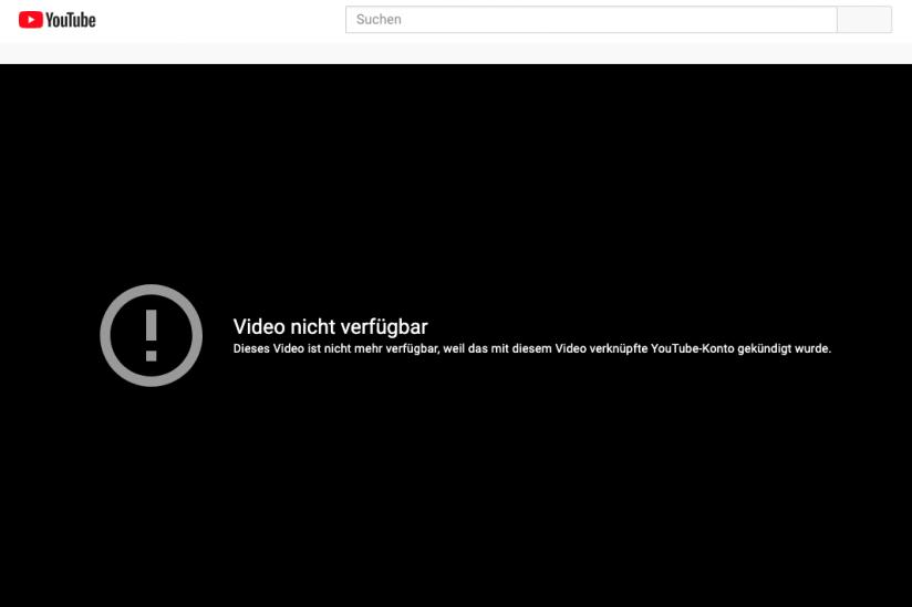 """Das Video, das zum """"digitalen Terror"""" führte, ist bei YouTube nicht mehr verfügbar."""