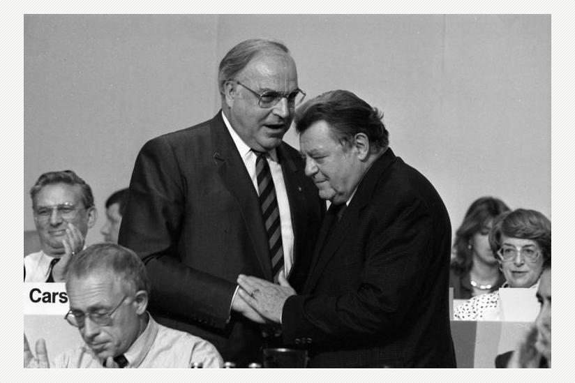 Kohl und Strauß am 13. Juni 1988 auf dem CDU-Bundesparteitag