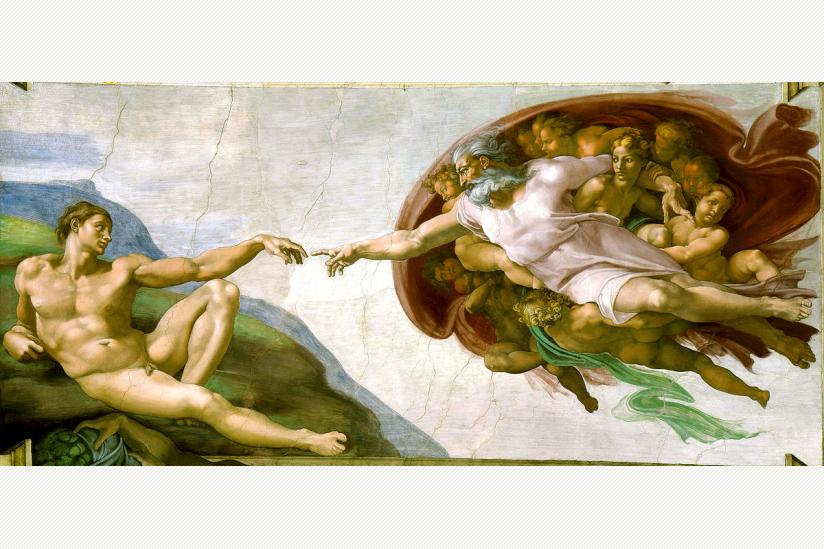 Die Erschaffung Adams (Michelangelo, Sixtinische Kapelle, Rom)