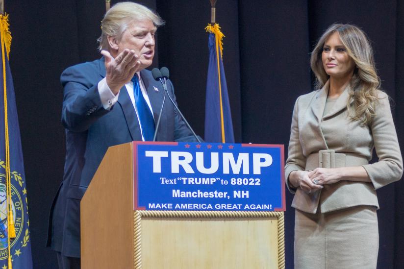 Trump und seine dritte Ehefrau Melania Trump bei einem Wahlkampfauftritt 2016
