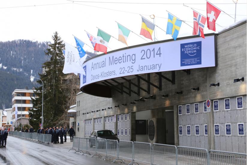 """Eingang des """"World Economic Forum at Davos"""", 2014"""