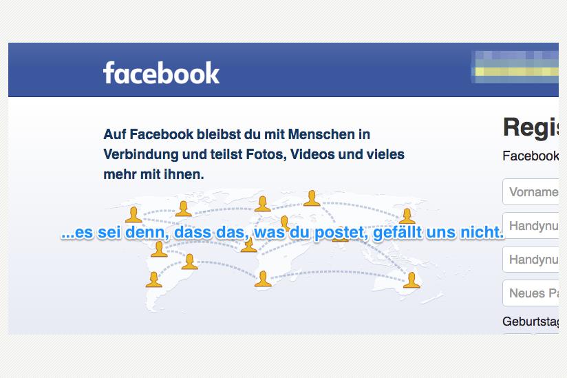 Screenshot der Facebook-Startseite