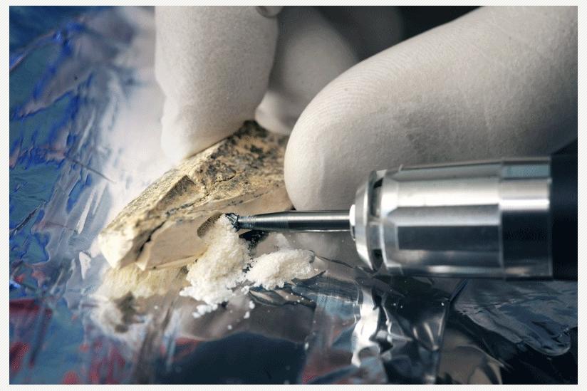 Bohren am Knochenfragment: Forscher benötigen nur winzige Mengen Knochenpulver für die Erbgutanalyse.