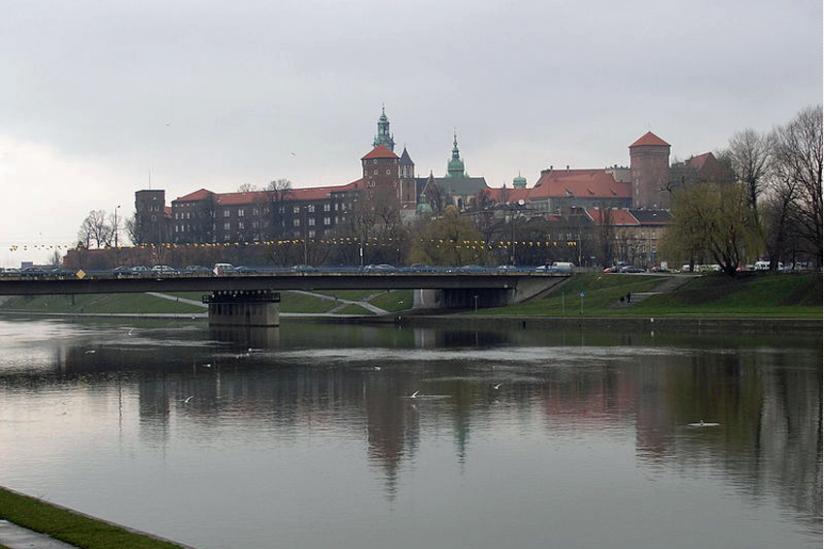 Blick von der Weichsel auf den Wawel, Krakau, Polen