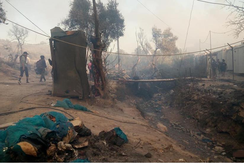 Überreste des Flüchtlingscamps Moria auf Lesbos