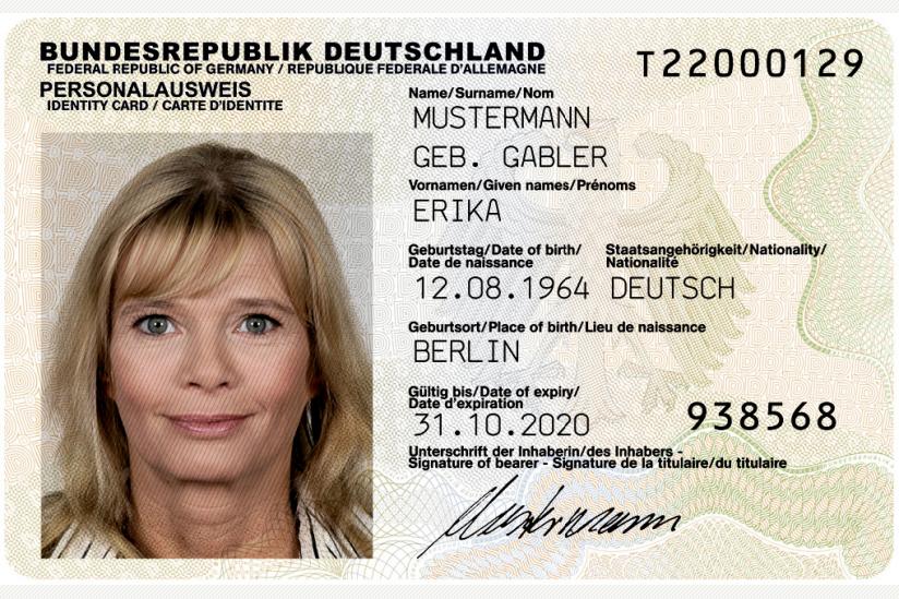 Muster des deutschen Personalausweises, Vorderseite