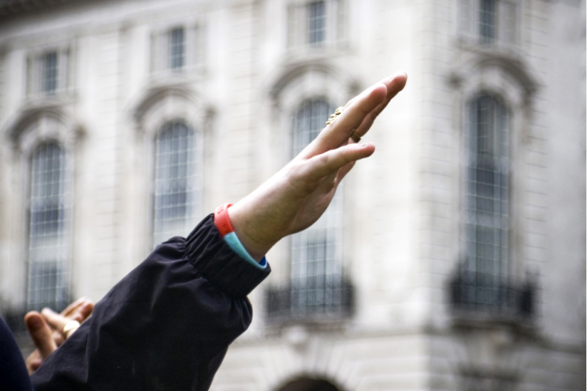 """Bei einer Demo der """"English Defence League"""" in London (09.09.2013)"""