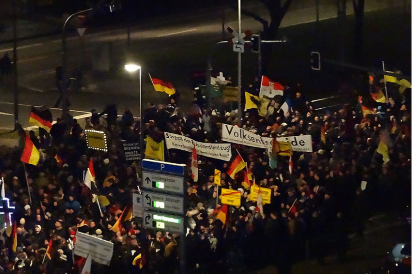 Pegida-Demonstration am 12. Januar 2015 in Dresden