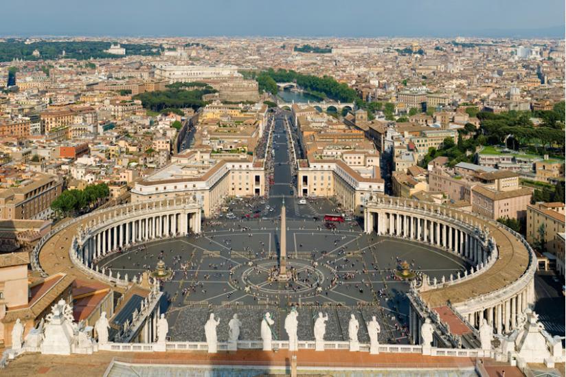 Petersplatz, gesehen von der Kuppel des Petersdomes