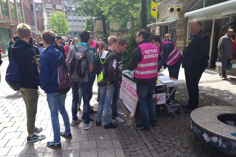 """Stand von """"Religionsfrei im Revier"""" in Münster"""