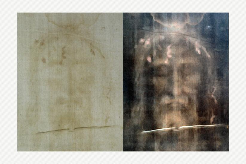Das Turiner Grabtuch, Fotografie des Gesichts, Positiv links, rechts Negativ (Kontrast etwas verstärkt)