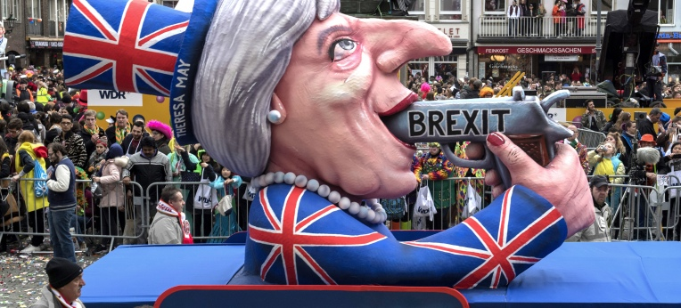 In London: Der Brexit-Wagen von Jacques Tilly