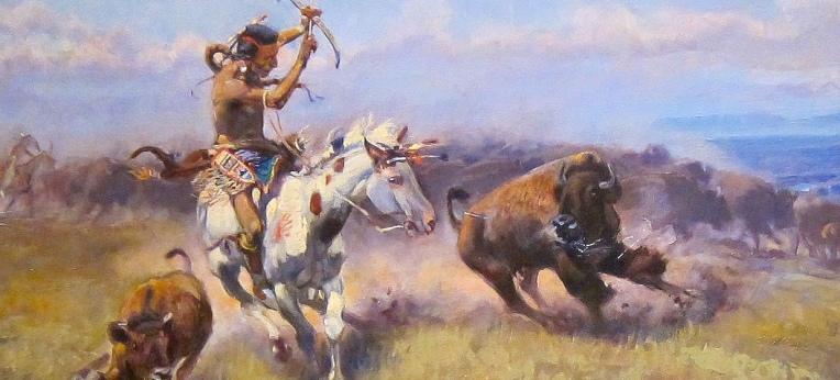 Ausschnitt aus dem Gemälde 'Fighting Meat' von Charles Marion Russell, Cincinnati Art Museum
