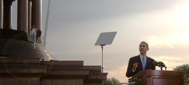 Obama während seiner Rede vor der Siegessäule in Berlin im Juli 2008