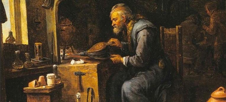 Der Alchemist – Gemälde von David Teniers dem Jüngeren