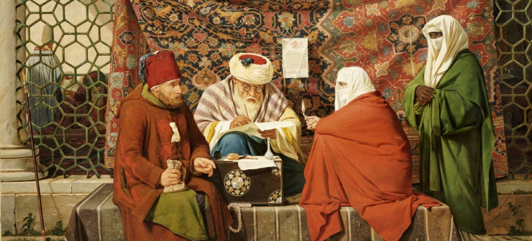 Ein türkischer Notar beim Aufsetzen eines Ehevertrages, Gemälde von Martinus Rørbye, 1837