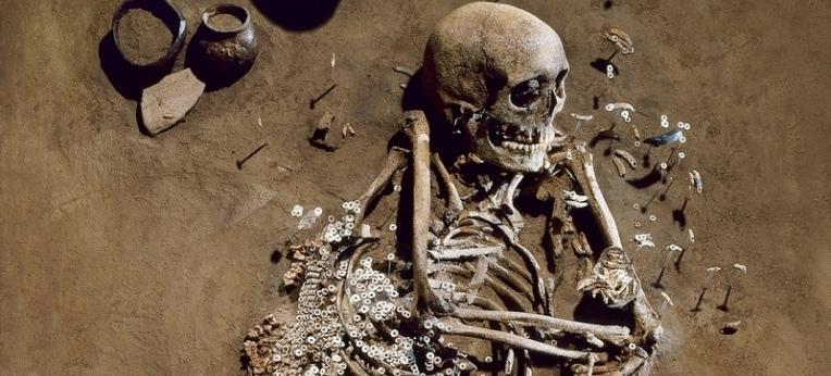 Grab eines erwachsenen Mannes aus der Salzmünder Kultur