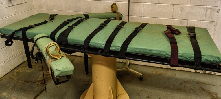 """""""Giftspritzenliege"""" im """"Old Main"""", dem stillgelegten Teil des Gefängnisses von New Mexico"""