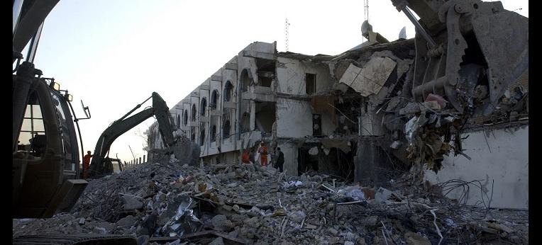 Das zerstörte Bagdader Canal Hotel nach dem Bombenanschlag auf die United Nations Assistance Mission for Iraq