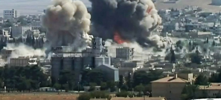 Twin-Explosion in southeastern Kobane on 8th October 2014