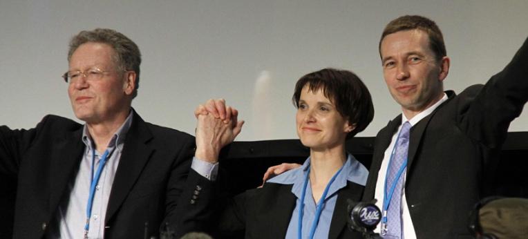Konrad Adam, Frauke Petry und Bernd Lucke (v.l.n.r.) beim Gründungsparteitag der AfD 2013 in Berlin