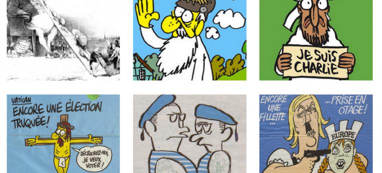 """Screenshot der Webseite mit Karikaturen aus """"Charlie Hebdo"""""""