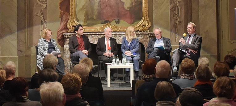 NRW-Antisemitismusbeauftragte Sabine Leutheusser-Schnarrenberger, Prof. Dr. Mouhanad Khorchide, Sharon Fehr, Christina-Maria Purkert, Prof. Dr. Hubert Wolf und Prof. Dr. Arnulf von Scheliha