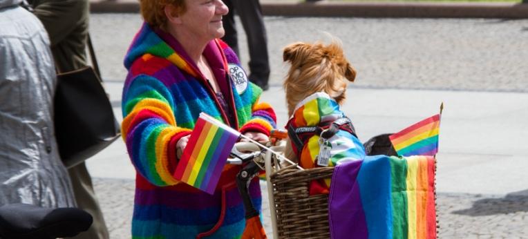 Bei einer Demo gegen Homophobie.