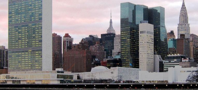 United Nations Plaza und Hauptquartier der Vereinten Nationen