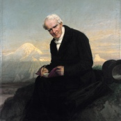 Das letzte Porträt von Alexander von Humboldt von Julius Schrader (1859). Im Hintergrund der Chimborazo.
