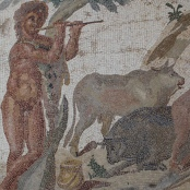 Bukolische Szene mit Rindern, Römisches Mosaik