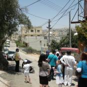 Amerikanische, jüdisch-orthodoxe Touristen in Tel Rumeida in Hebron