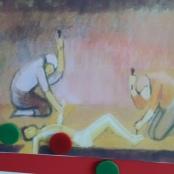 Bild in einem Kindergarten: Jesus wird ans Kreuz genagelt